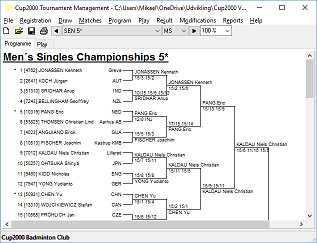 Cup2000: Tournament Software System for Badminton, Tennis etc.
