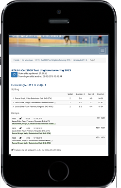 Cup2000: live score on smartphone
